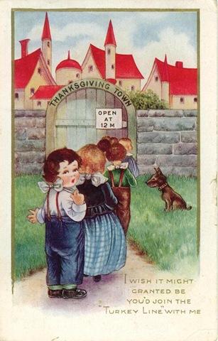 vintage-thanksgiving-town-children-dog-postcard