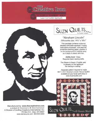 Suzn+Quilts+Abraham+Lincoln+Tribute+Silhouette+Cover