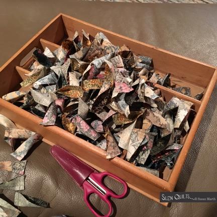 Suzn+Quilts+box+of+sewn+Morris+petals